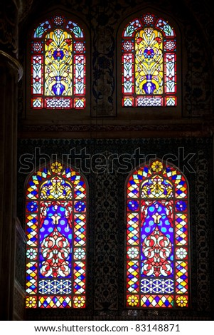 Stained glass windows in the Blue Mosque (Turkish: Sultan Ahmet Camii) in Istanbul, Turkey - stock photo