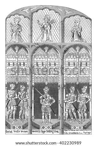 Stained glass windows of the church of Brereton, Cheshire, vintage engraved illustration. Colorful History of England, 1837.