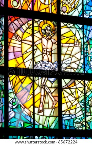 Stained glass with Jesus - stock photo