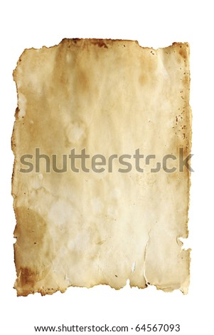 Stained old paper with rough edges isolated on a white background. - stock photo