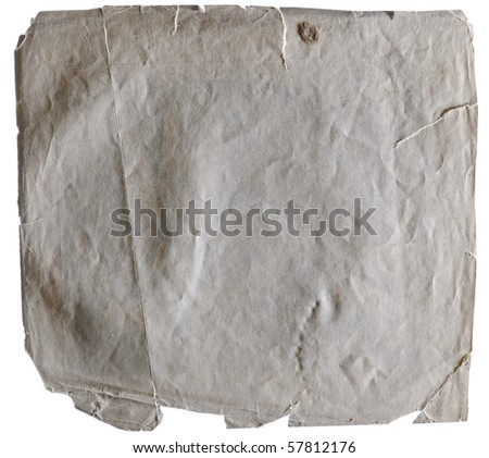 Stained old paper with rough edges isolated on white background - stock photo
