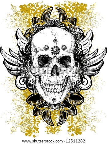 Stained skull illustration - stock photo
