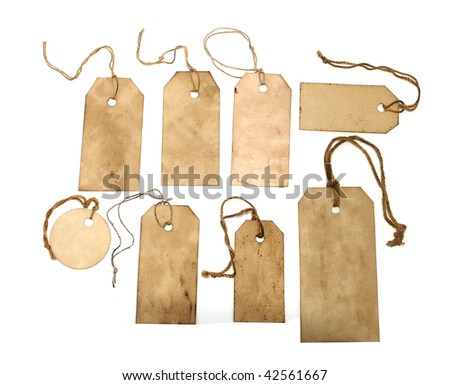 Stained tags on white background - stock photo