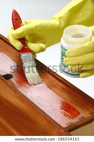 staining furniture - stock photo