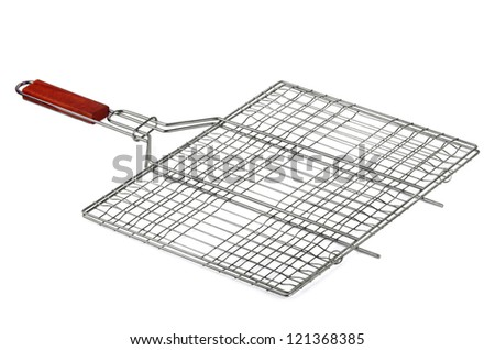 Stainless barbecue grill camping basket  isolated on white - stock photo