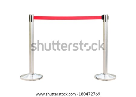 Stainless barricade with red rope isolate on white background - stock photo
