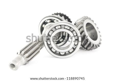 stainless bearing, shaft and cogwheel  isolated on white background - stock photo