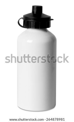 Stainless bottle water isolated white background - stock photo