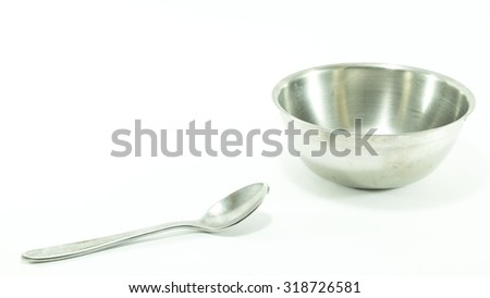 Stainless bowl and spoon isolated on white background