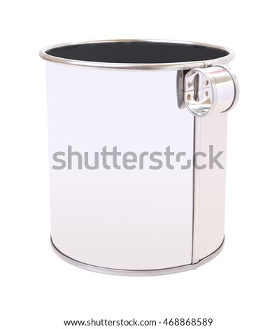 Stainless can with small handle on white background.