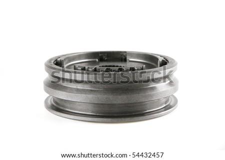 stainless cogwheel isolated on white background - stock photo