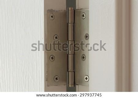 stainless door hinges on a white door