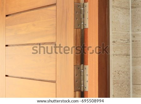 Stainless Door Hinges On Wooden Swing Stock Photo 695508994 ...
