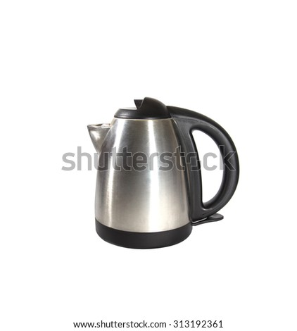 stainless electric kettle isolated on white - stock photo