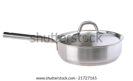 stainless  frying pan with stainless cover isolated on white - stock photo