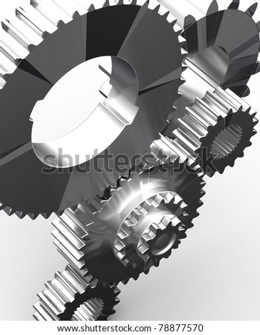 stainless gears isolated - stock photo