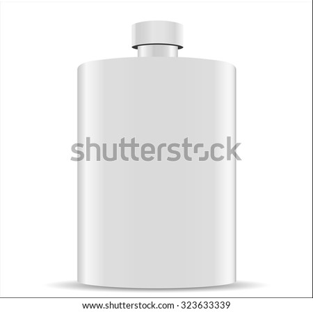 Stainless hip flask isolated on white background - stock photo