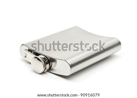 Stainless hip flask with pattern isolated on white background