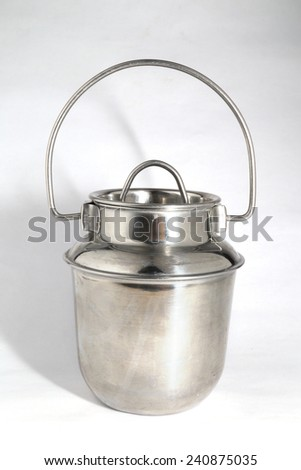 stainless kettle isolated on white
