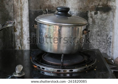 Stainless old pot - stock photo