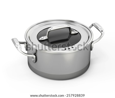 Stainless pan isolated on white background. 3d illustration. - stock photo