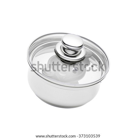 Stainless pan with glass cover isolated on a white background - stock photo