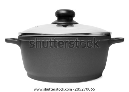 Stainless pan with glass lid on white background - stock photo