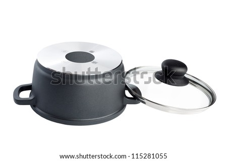 Stainless pan with open up glass cover isolated on a white background - stock photo