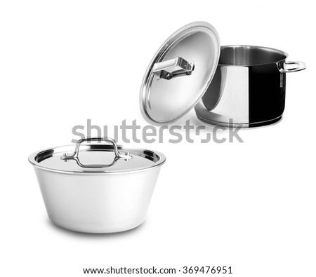 stainless pans isolated on white - stock photo