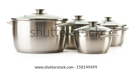 Stainless pots isolated on a white background