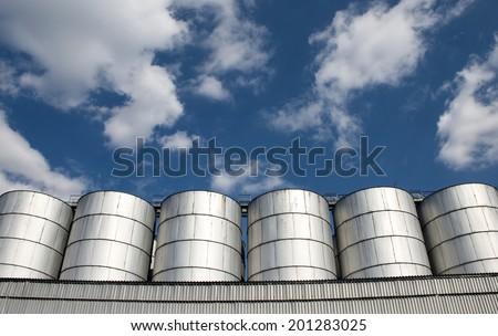 Stainless Silos - stock photo