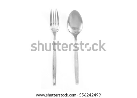 Stainless Spoon and fork isolate on white background
