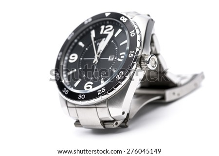 Stainless steel analog men watch on white background. - stock photo