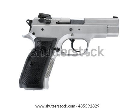 Stainless steel automatic 9 m.m handgun pistol isolated on white