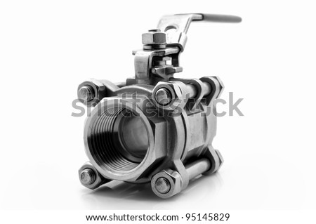 stainless steel ball valve isolated on white background - stock photo