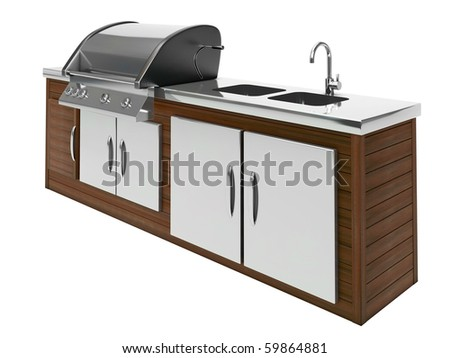 stainless steel barbecue with wooden table - stock photo