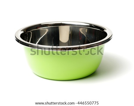 stainless steel basin on white background