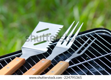Stainless Steel BBQ tools - stock photo