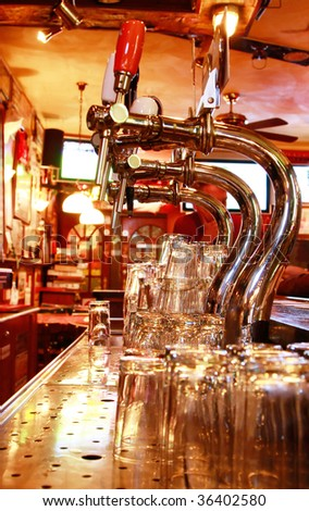 Stainless steel beer taps - stock photo