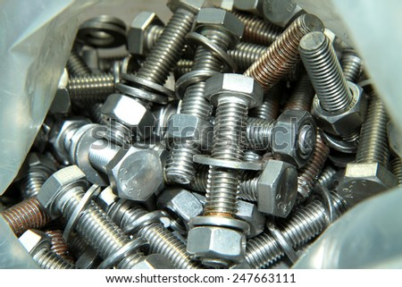 Stainless steel Bolts & Nuts - stock photo