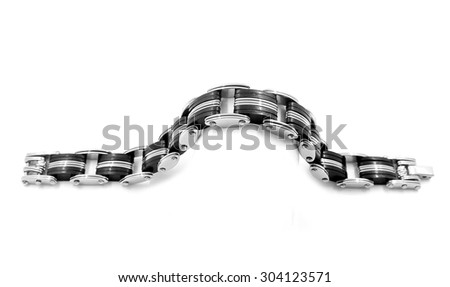 Stainless steel bracelet, isolated on white background