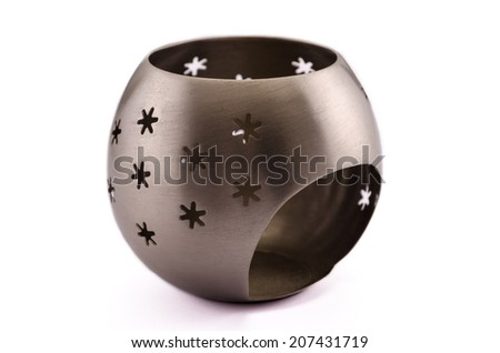 Stainless steel candle holder on white - stock photo
