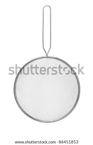 Stainless steel colander suspended vertically on white background - stock photo