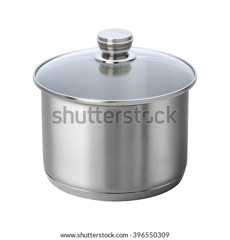 stainless steel cooking pot isolated on white - stock photo