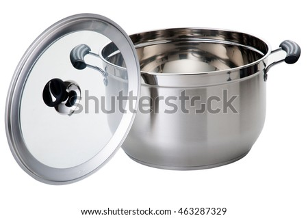 Stainless steel cooking pot on a white background