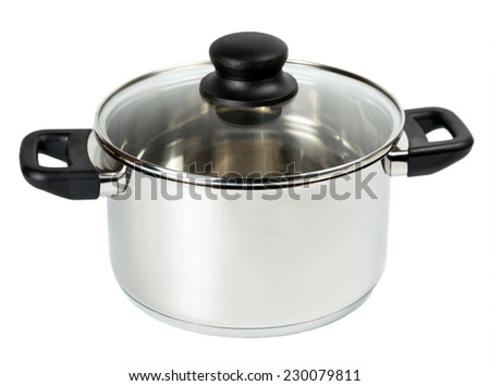 stainless steel cooking pot with cover isolated on white background - stock photo