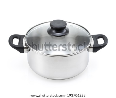 stainless steel cooking pot with glass lid isolated