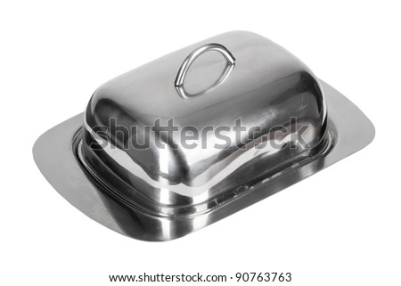 Stainless steel dish isolated on white