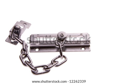 Stainless steel door chain isolated on white.  Brightly lit from underneath. - stock photo