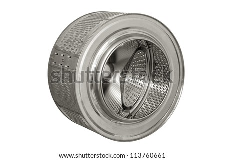 Stainless steel drum of a washing machine. Close-up isolated on white background. - stock photo